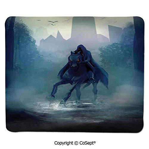 Quality Selection Comfortable Mouse Pad,Fantasy Horseman with Hood Riding in Dark Mystic Foggy Forest Road Fairytale Theme,for Laptop,Computer & PC (11.81