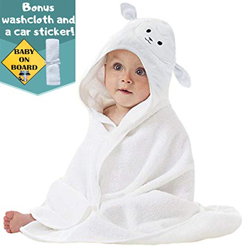 Organic Bamboo Baby Hooded Towel with Bonus Washcloth | Ultra Soft and Super Absorbent Toddler Hooded Bath Towel with Cute Lamb Face Design | Great Infant/Newborn Shower Present for Boy or Girl ()
