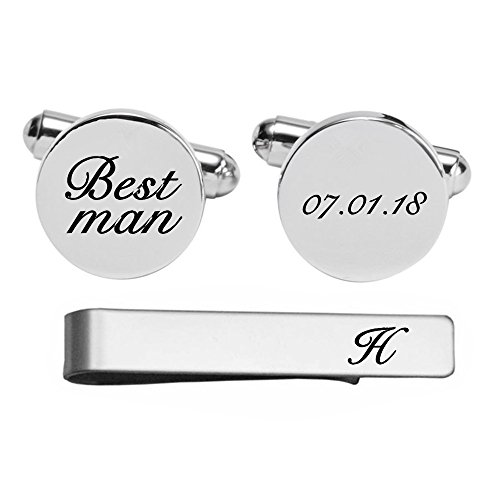 Kooer Engraved Cuff Links For Best Man Custom Personalized Cuff Links Vintage Handmade Wedding Jewelry (Gold plated cufflinks & tie clip set)