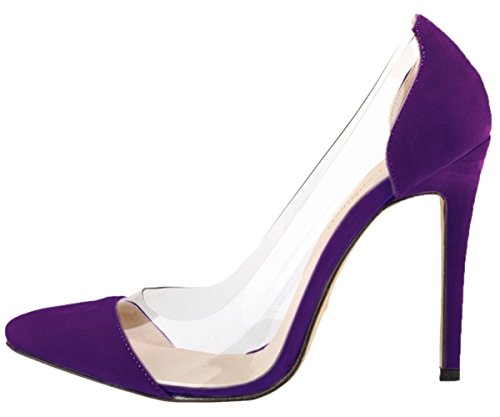 Heel Toe HooH Transparent Pointed Women's Purple High Pumps Wedding qnxxERwH1r
