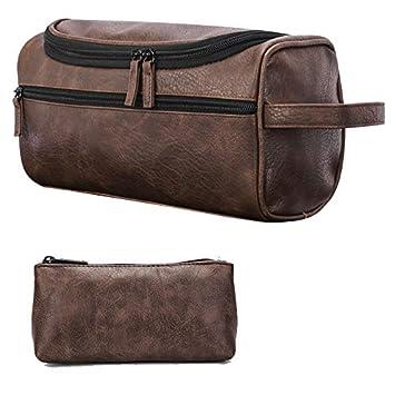 Amazon.com   ORIGOAL Premium PU Leather Unisex Toiletry Bag Toiletry  Organizer Wash Bag Bathroom Shower Bag with hanging hook e82e631a9d8be