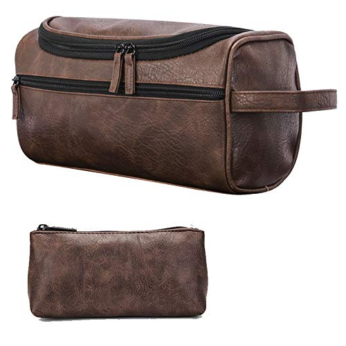 Unisex Premium Leather - ORIGOAL Premium PU Leather Unisex Toiletry Bag Toiletry Organizer Wash Bag Bathroom Shower Bag with hanging hook, Dopp Kit for Home or Travel