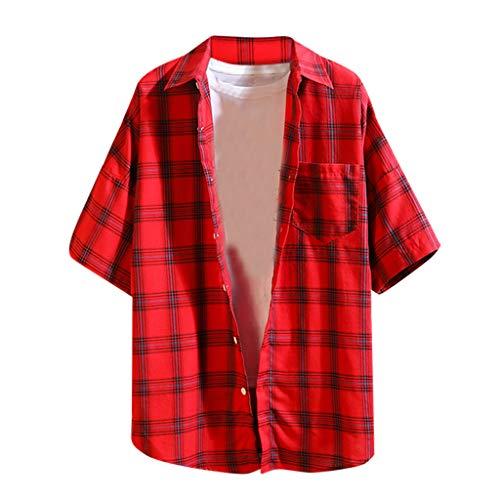 iZZZHH Men's Summer Plaid Pocket Loose Daily Short Sleeve Shirt Casual Blouse Tee(Red,XXXXXL)