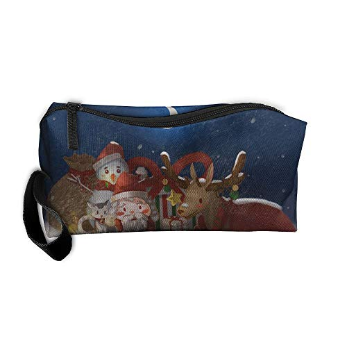 Ministoeb-bxsnb-id Portable Pen Bag Purse Storage Pouch Christmas Night Santa Claus Deer Reading Cosmetic Toiletry Clutch Bag Organizer Case ()