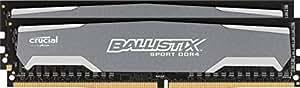 Ballistix Sport 8GB Kit (4GBx2) DDR4 2400 MT/s (PC4-19200) DIMM 288-Pin Memory - BLS2K4G4D240FSA