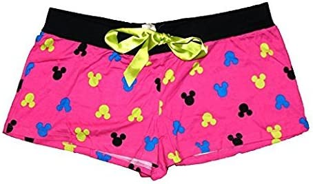 Disney Minnie Mouse Womens Pajama Short Pants With Silhouette Print Hot Pink