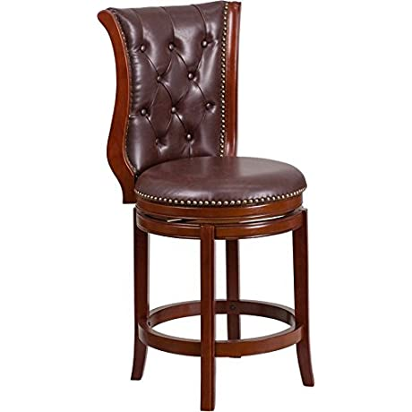 Estella 26 Button Tufted Chestnut Wood Counter Stool W Hepatic Leather