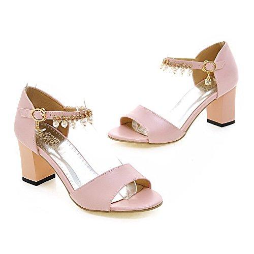 AmoonyFashion Womens Solid PU Kitten-Heels Open-Toe Buckle Sandals Pink oySl4yb