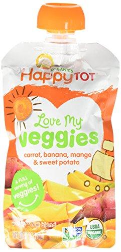 Happy Tot Love My Veggies Organic Carrot Banana Mango and Sweet Potato Blend, 4.22 Ounce -- 16 per case.