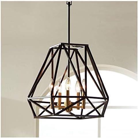 Hawking Bronze Geometric Cage Pendant Chandelier Lighting 20″ Wide Industrial 5-Light Fixture