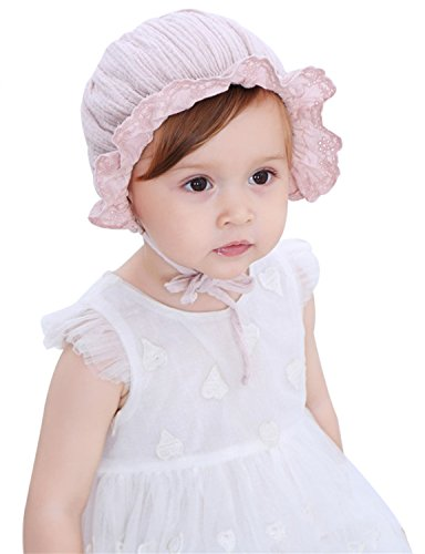 Fairy Wings Girls 100% Cotton Ruffle Brimmed Eyelet Lace Bonnet Caps, Beige ()