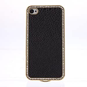 Nsaneoo - Luxury Bling Crystals Rhinestones PC Leather Case Cover for iPhone 4/4S , White