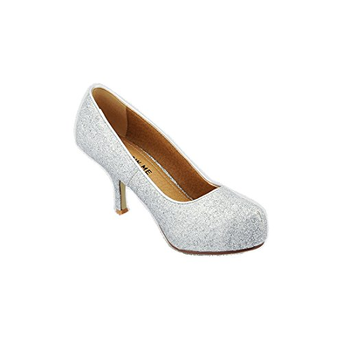 Size Work Court Ladies Smart Heel 3 Glitter Womens 8 Silver MID Shoes Casual COLLECTION CORE Office New Pump RnW448O