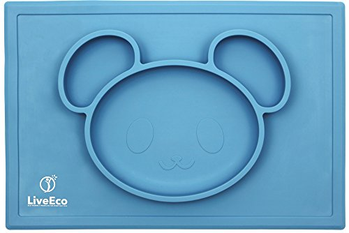 LiveEco Silicone Placemat and Tray for Babies, Infants, Toddlers and Kids | Suctions To Table | Safe Non-toxic Food Grade Silicone - BPA, PVC, Lead and Phthalate Free (Blue)