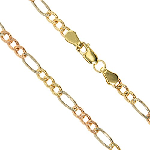 10k Gold-Hollow Tri White Rose Yellow Figaro Chain 3.3mm Pave Necklace (Tri Color Figaro Chain)