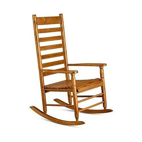 (TisYourSeason Rocking Chairs Wood Porch Furniture Outdoor Indoor Natural Oak Hardwood Rocker Rocking Chair)
