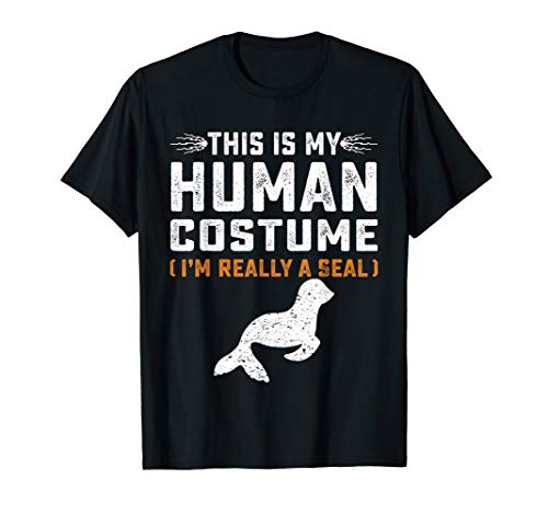 Awesome Halloween Costumes For Cheap (This Is My Human Costume Funny Seal Family Animals Gifts Tee)