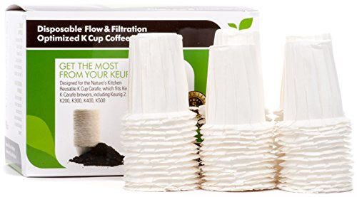 Disposable Flow & Filtration Optimized K Carafe Cup Coffee Filters by Nature's Kitchen (90 pack) ()