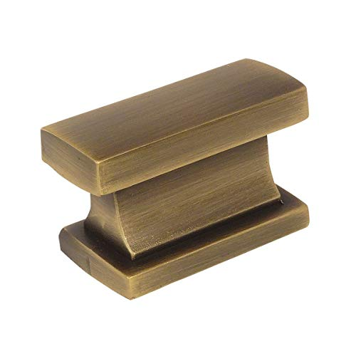 Antique Brass Finish Hardware - 10 Pack - Cosmas 701BAB Brushed Antique Brass Contemporary Cabinet Hardware Knob - 1-7/16