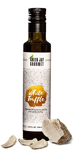 (Green Jay Gourmet White Truffle Olive Oil from Organically Grown Olives - Italian White Truffle Crushed Extra Virgin Olive Oil - Trans-Fat Free Cold Pressed Olive Oil - Gourmet Olive Oil - 250ml)