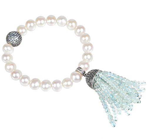 Tassel Pearl Bracelet Aquamarine (Oxidized)