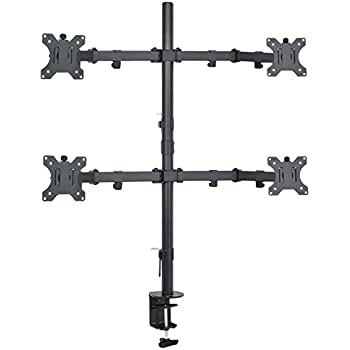 """VIVO Quad LCD Monitor Desk Mount Stand Heavy Duty Fully Adjustable fits 4 /Four Screens up to 27"""" (STAND-V004)"""
