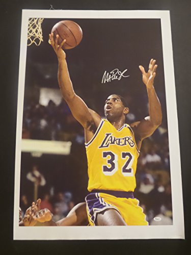 (Magic Johnson Signed Los Angeles Lakers Autographed Art Canvas)