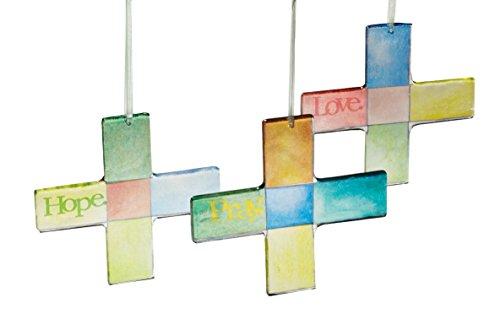 3 Cross Design Glass Sun Catchers - Hope, Love, Pray