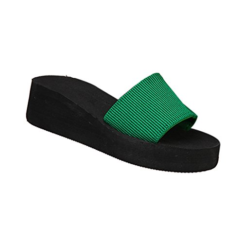 Pantoufles Pour Vert d'ete EU35 Plates Noir de Plage Sandales Femmes SODIAL wHCEaqIH