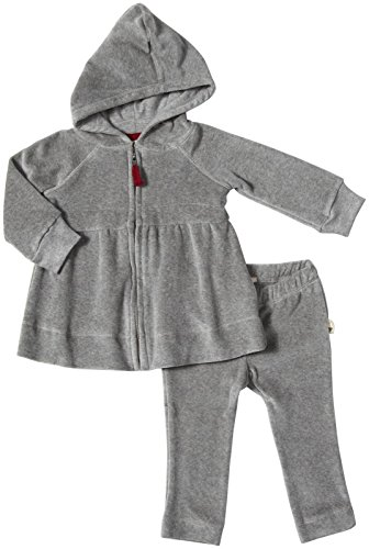 Burt's Bees Baby Velour Striped Hoodie Set (Baby) - Heather Grey-0-3 Months
