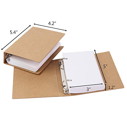 Koogel 300pcs Dividers Blank Cards Binder, 3inch x5inch Blank Note Cards Binder Study Cards Study Cards for Taking Notes Study Work Make a List