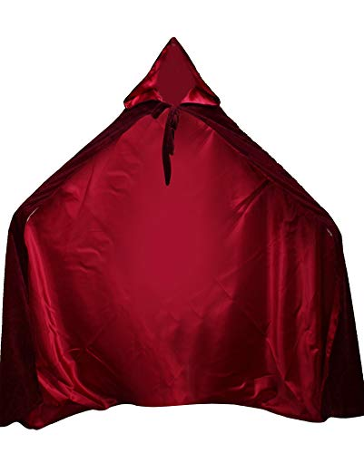LuckyMjmy Velvet Renaissance Medieval Cloak Cape lined with Satin (Medium, Wine Red)]()