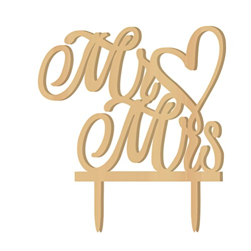 Price comparison product image WINOMO Mr Mrs Wooden Letters Heart Wedding Cake Topper Decoration