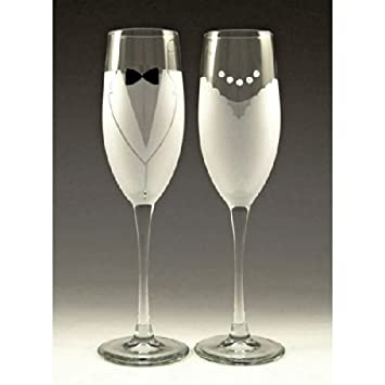 Bride and Groom Champagne Glasses by Asta Glass
