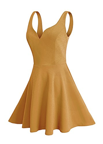 Sweethearts Lunch (Missufe Women's Sleeveless Sweetheart Flared Mini Dress (s, Turmeric))