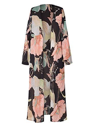 (MeiLing Women's Print Bikini Bathing Suit Swimsuit Cover up Dress Chiffon Long Kimono Cardigan Beachwear (Floral Printed)