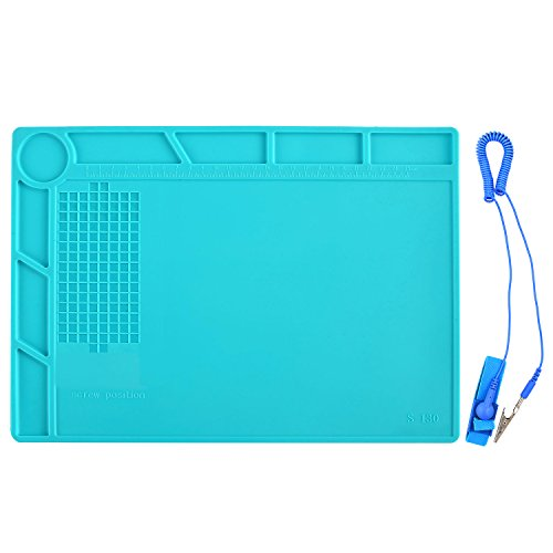 Eachway 13.8 x 9.8 inch Heat Insulation Silicone Pad Desk Mat Maintenance Platform BGA Soldering Repair Station with Scale Ruler Repair Mat