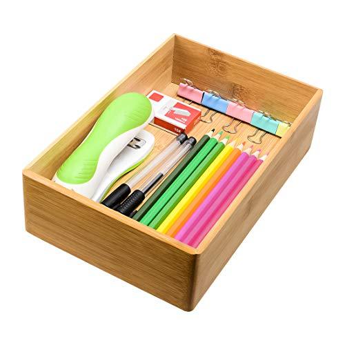 Drawer Organizer Storage Box Bathroom Living Room Kitchen Bamboo (9