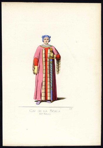 Fourteenth-century Italy Costumes (Antique Print-DELLA SCALA-ITALY-COSTUME-14TH CENTURY-PL 42-Bonnard-Mercuri-1860)