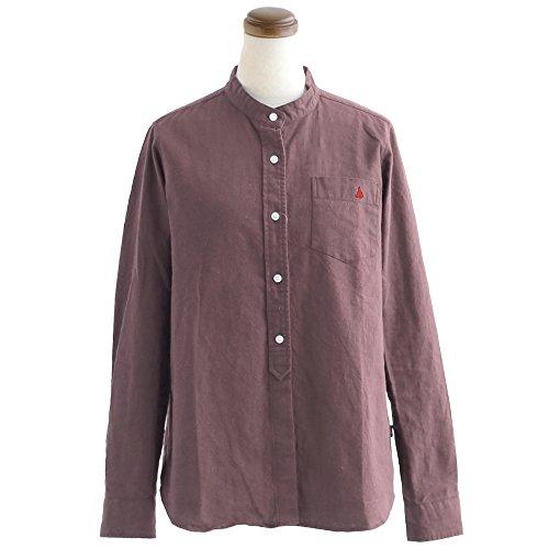 小切手失速泳ぐ(セイル) SAIL シャツ 長袖 無地 ワンポイント 刺繍 バンドカラー 綿麻 オックス 日本製