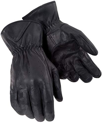 Tour Master Select Summer Womens Leather Street Bike Racing Motorcycle Gloves - Black/Large