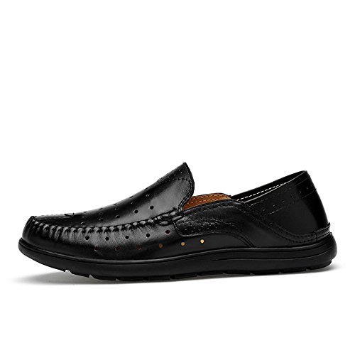 Hollwo Black Guida Suola morbida in Vamp 45 Mocassini Uomo Dimensione Mocassino gomma da Color shoes da uomo Nero on Slip da Mocassini da Yajie Casual 2018 EU Mocassini barca Patch wfqf8C