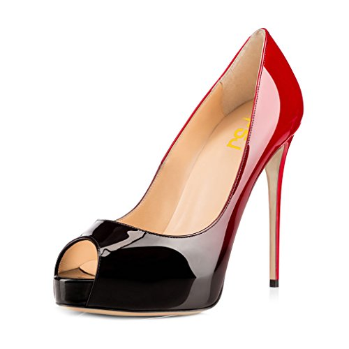 FSJ Women Graceful Peep Toe Pumps High Heels With Platform Slip On Party Prom Shoes Size 4-15 US Red-gradient qHjjCS