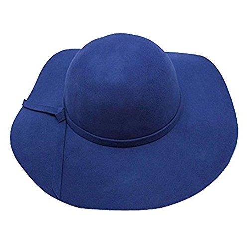 Senti Disquete para franja Azul Sombrero Estilo Negro Sol Borde una mujer arco Jugador Sombrero Balls de Accessorystation lana ancho Gorra Campana suave de con vintage encantador d6vcqRwY