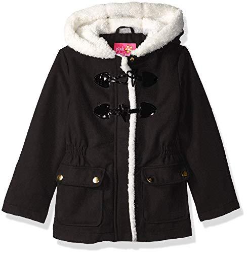 Pink Platinum Girls' Toddler Wool Toggle Coat, Double Black, 4T