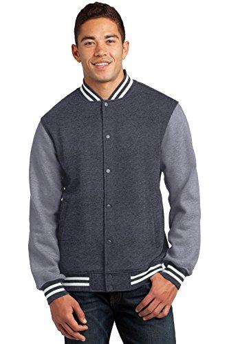 Sport-Tek Men's Fleece Letterman Jacket XXL Graphite Heather/ Vintage Heather
