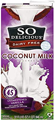 So Delicious Dairy-Free Organic Coconutmilk Beverage, Unsweetened Vanilla, 32 Ounce (Pack of 12) Plant-Based Vegan Dairy Alternative, Great in Smoothies Protein Shakes or Cereal