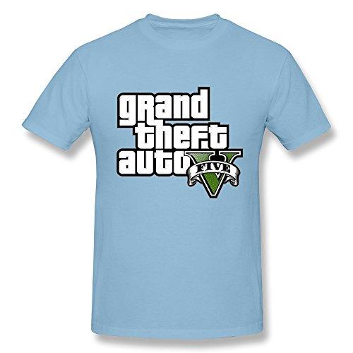 LOHUIOI Men's GTA V Grand Theft Auto Five Logo T-shirt Size XXL SkyBlue