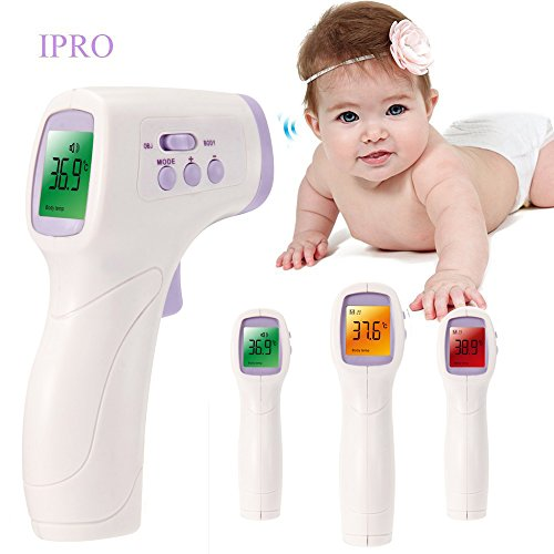 IPRO Baby Forehead Thermometer Gun Purple Non Contact Body Digital Measurement Home Pediatric Use Instant Results with 50 Reading Memory for Children/Kids/Adults&Object Surface/Animals/Pets (Purple)