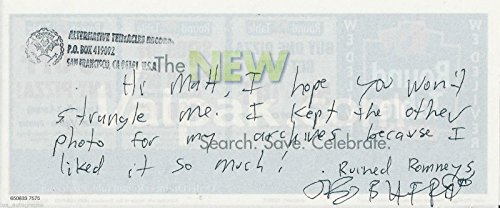 Jello Biafra of Dead Kennedys RARE hand SIGNED note on pizza coupon JSA COA ALS
